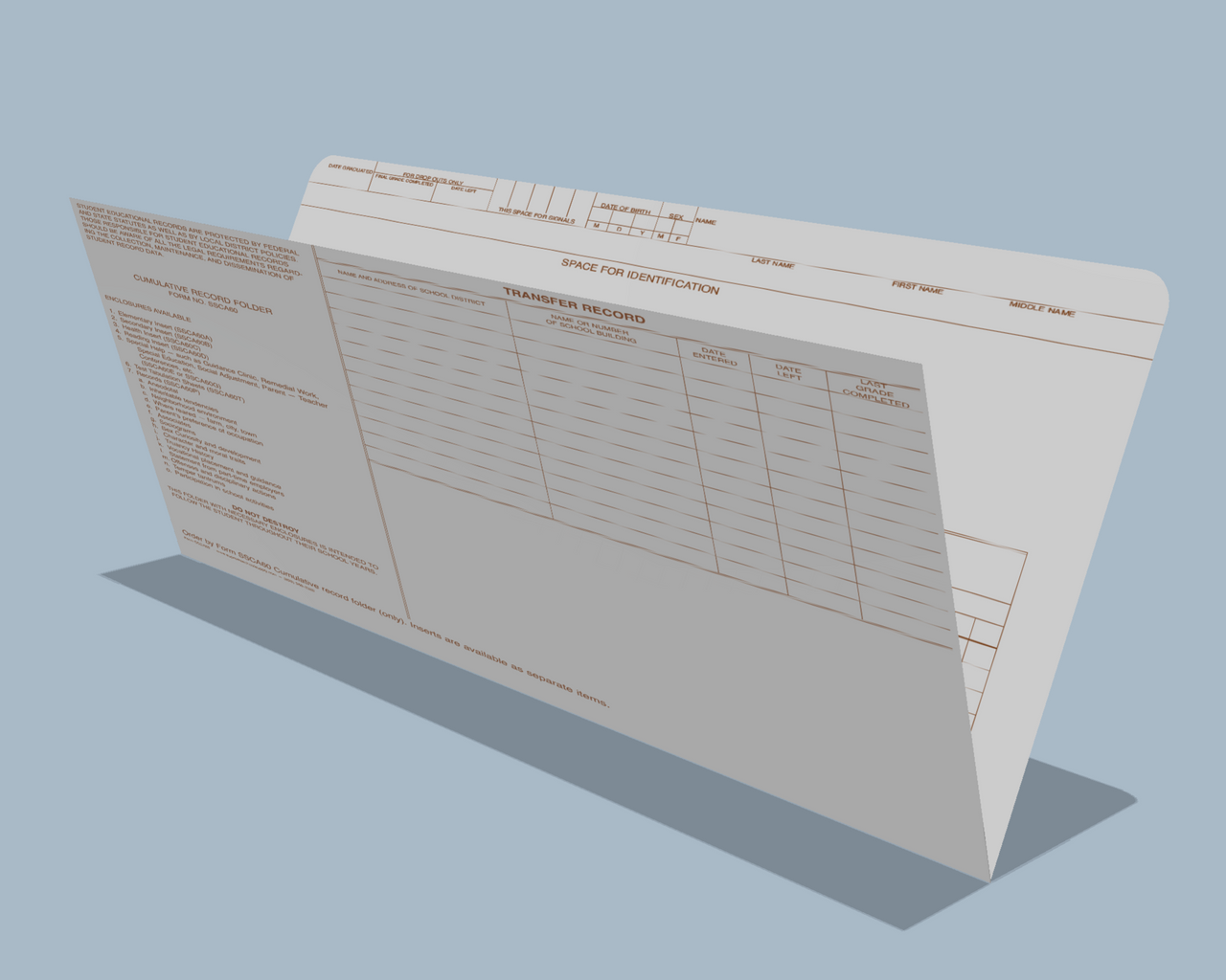 Student Cumulative Record Folder, White (SSCA60)