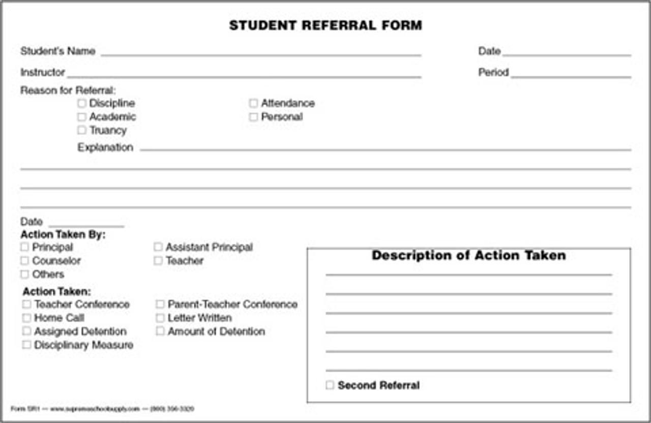 Student Referral Form (SRF1)