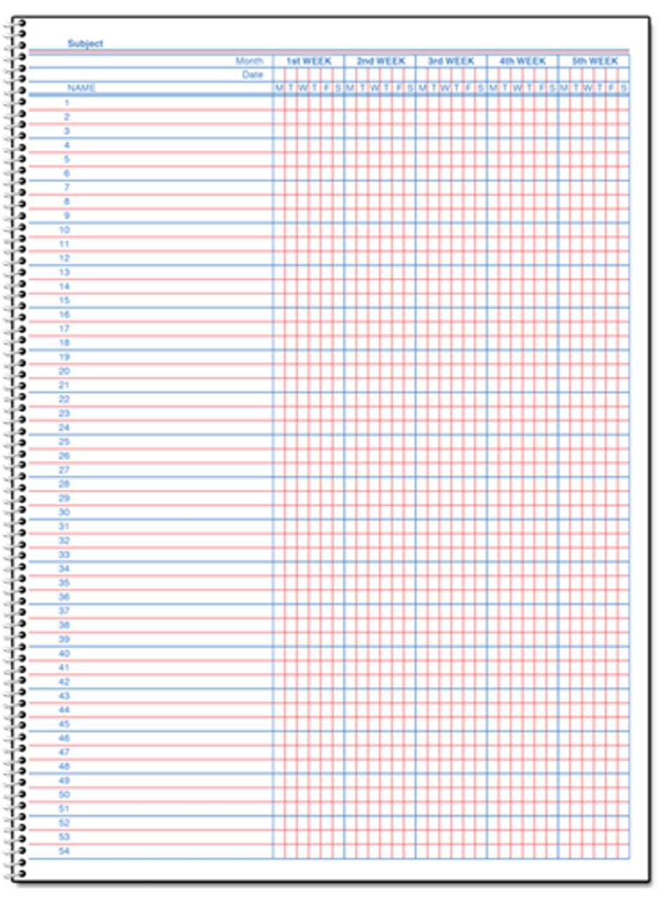 Class Record Book, 18 Week (Semesters) (M118)