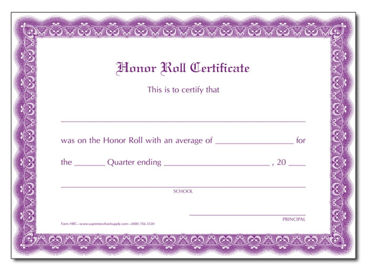 Honor Roll Certificate, Quarters (HRC)