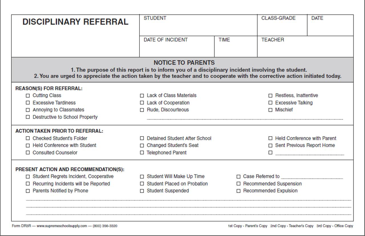 Disciplinary Referral, Triplicate (DR3R)