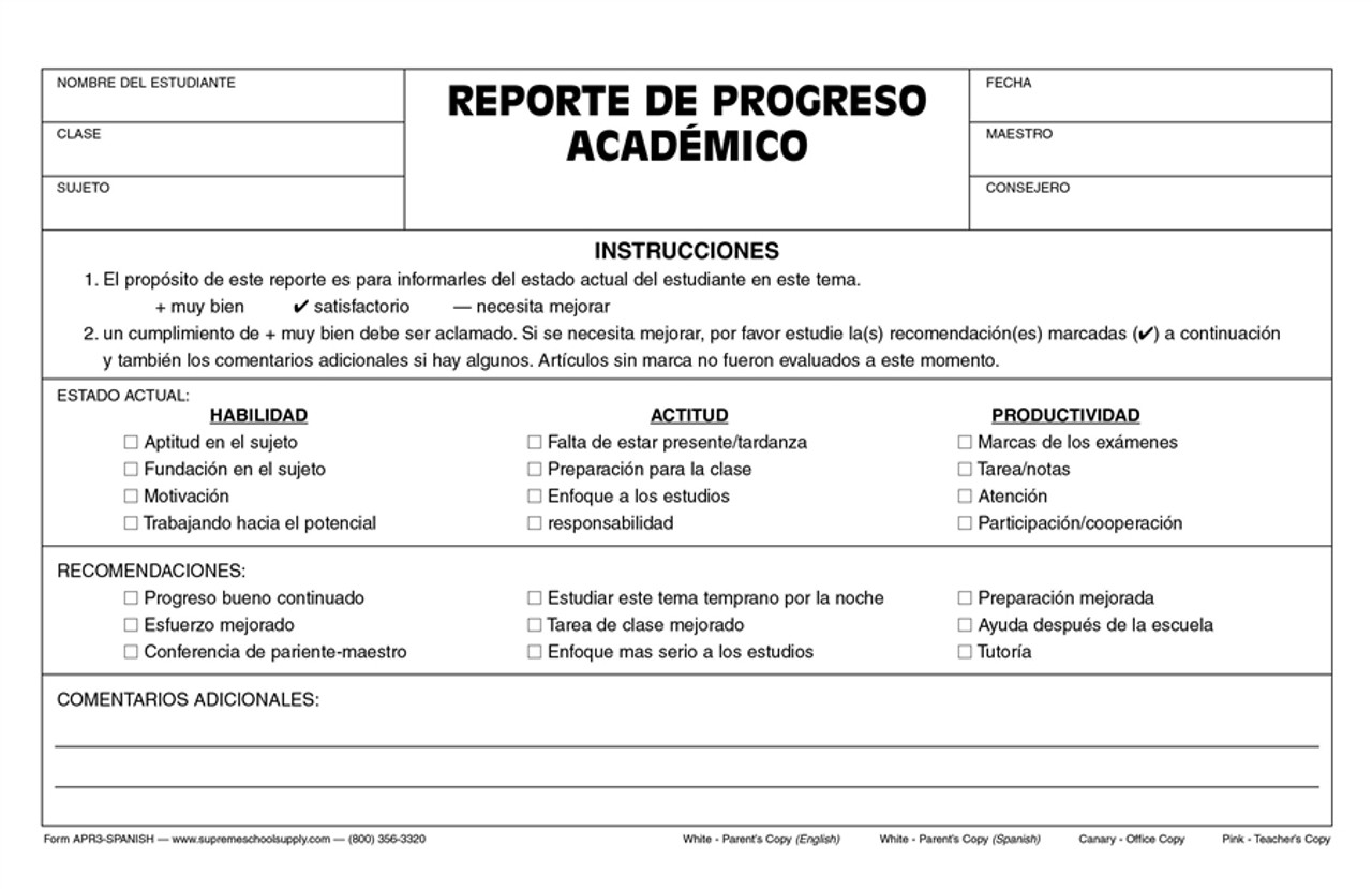 Academic Progress Report (APR3-SPANISH)