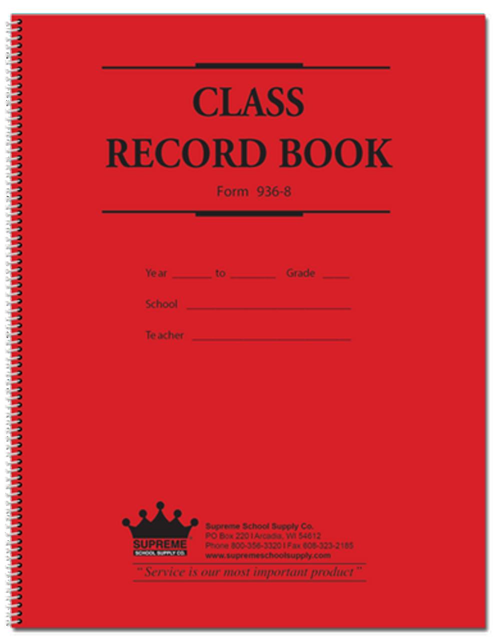 Class Record Book, 8 Subject, 9 Week (936 Series) (936-8)