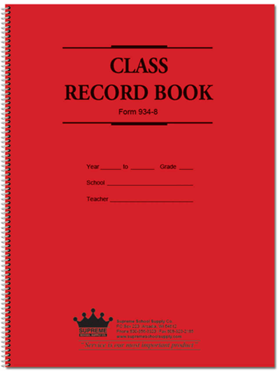 9 Week, Two Entry Class Record Book (934-8)