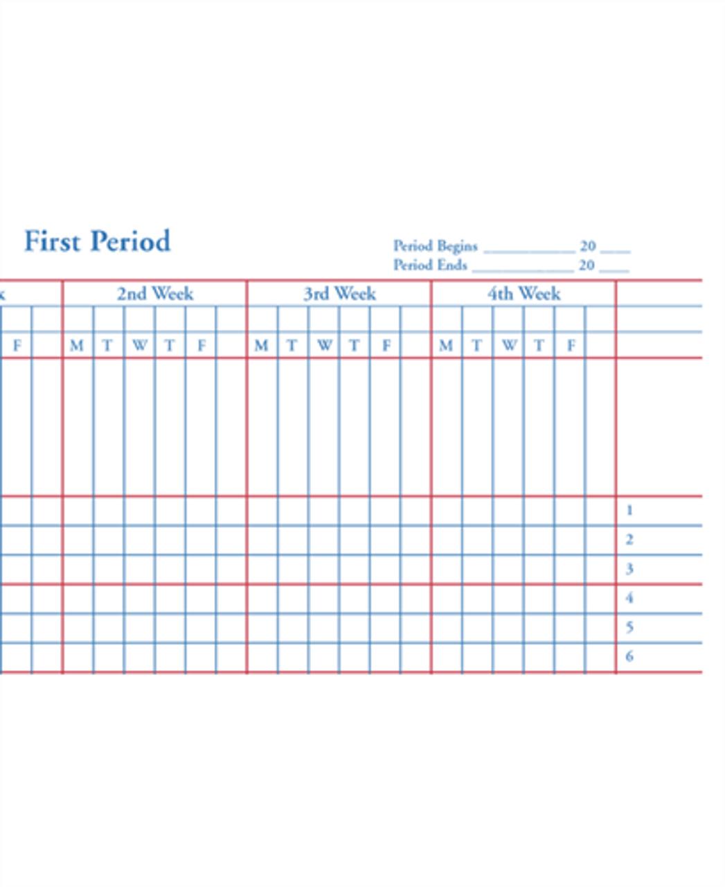 Class Rec Book - 8 Subject, 6-Week (67-8L)