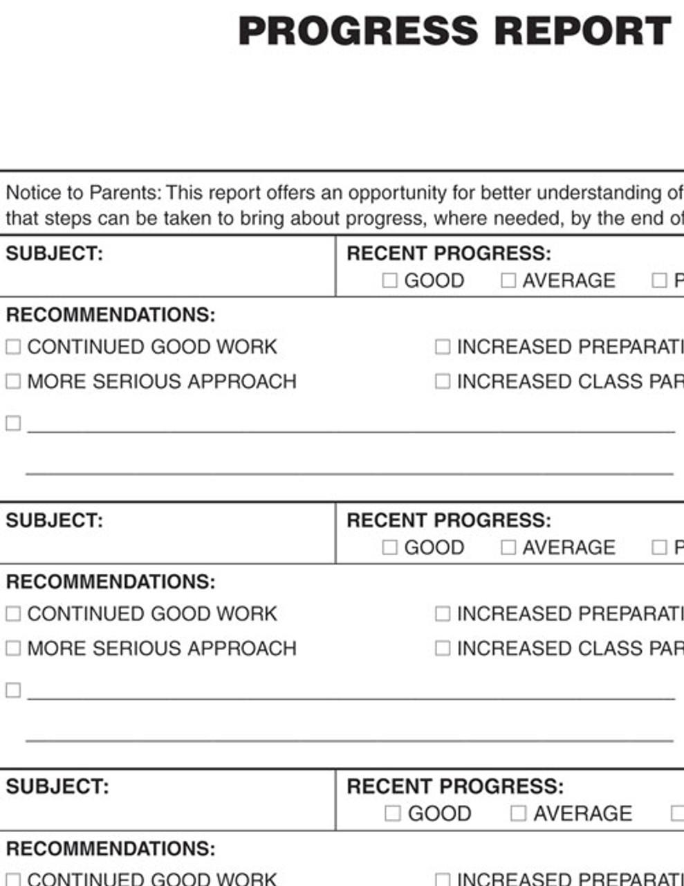 Progress Reports, Multiple Subject (6498)