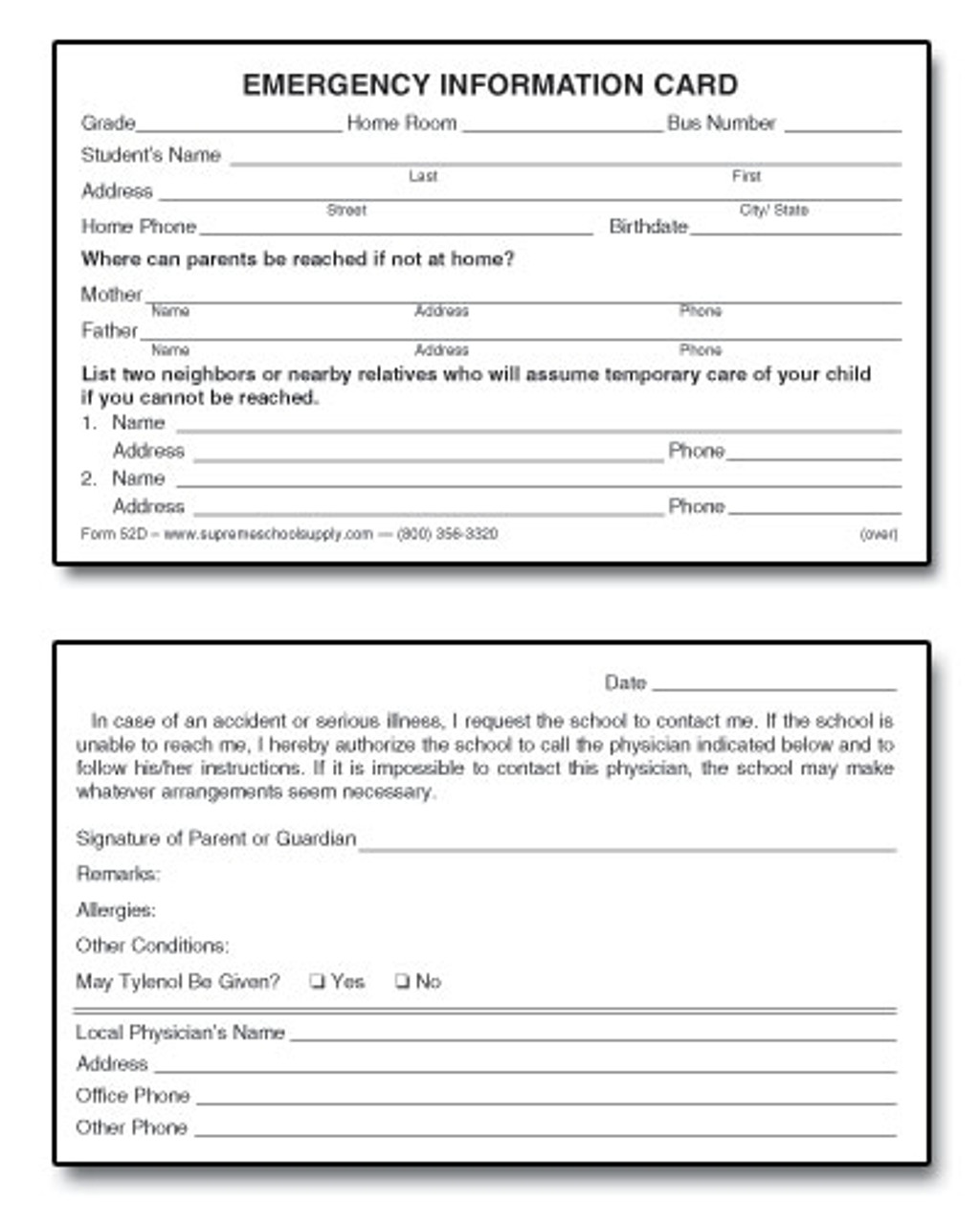 Emergency Information / Authorization Card (52D)