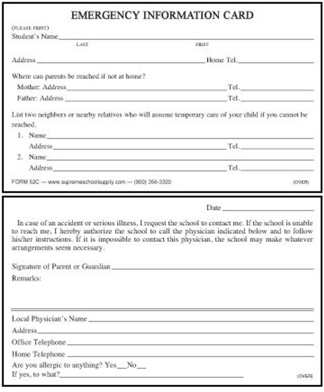 Emergency Authorization Card (52C)