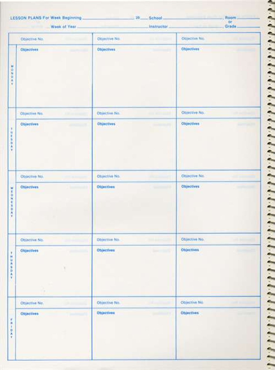 Daily Plan Book with Objectives - Blue Print (40OBJ)