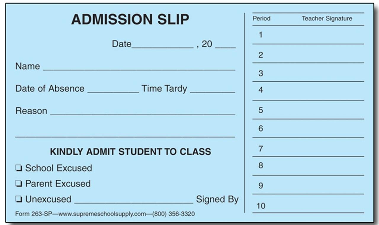 Admission Slips (263SP)