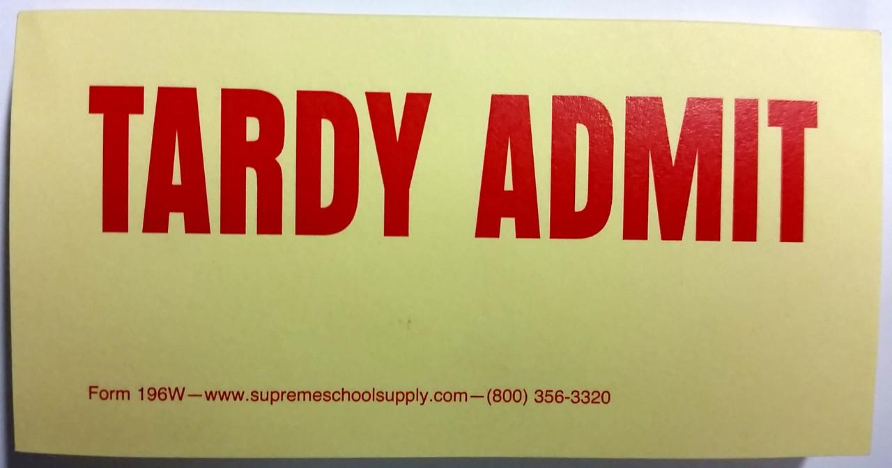 Tardy Admit Slip, Yellow (196W)