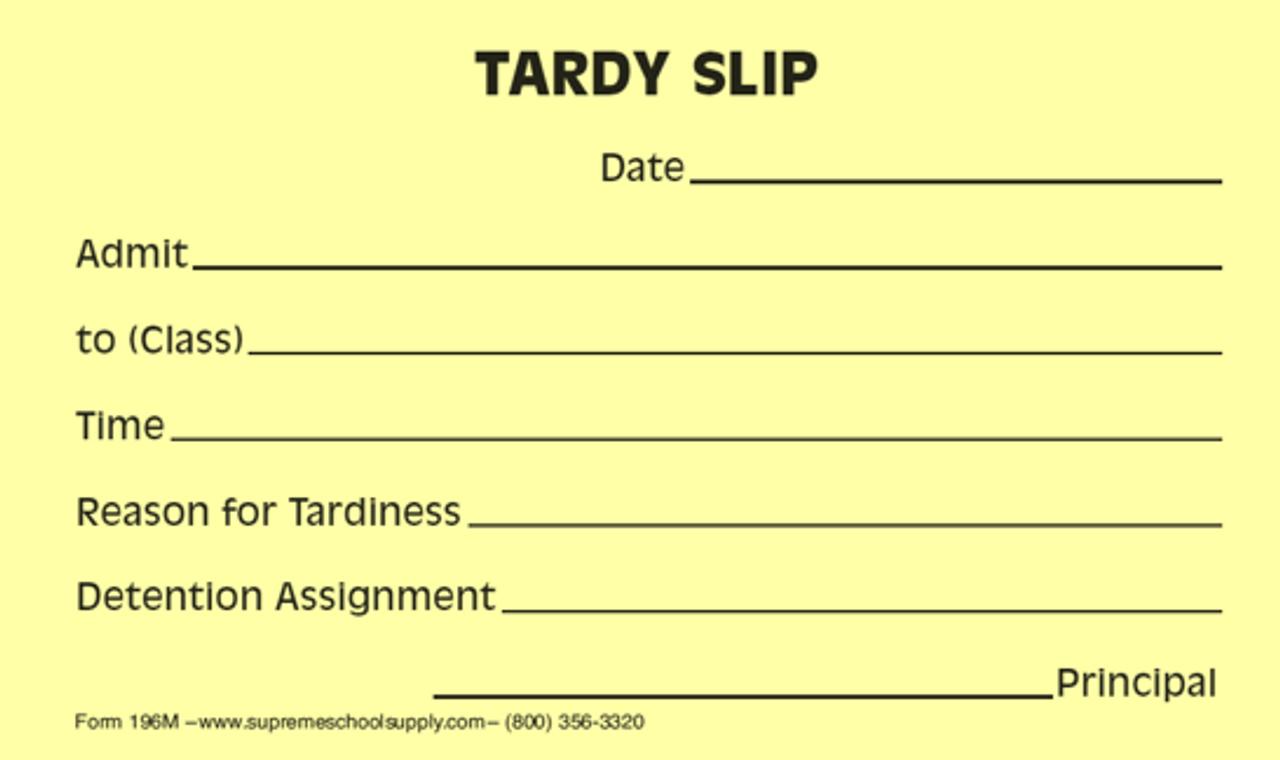 Tardy Slips, Yellow (196M)