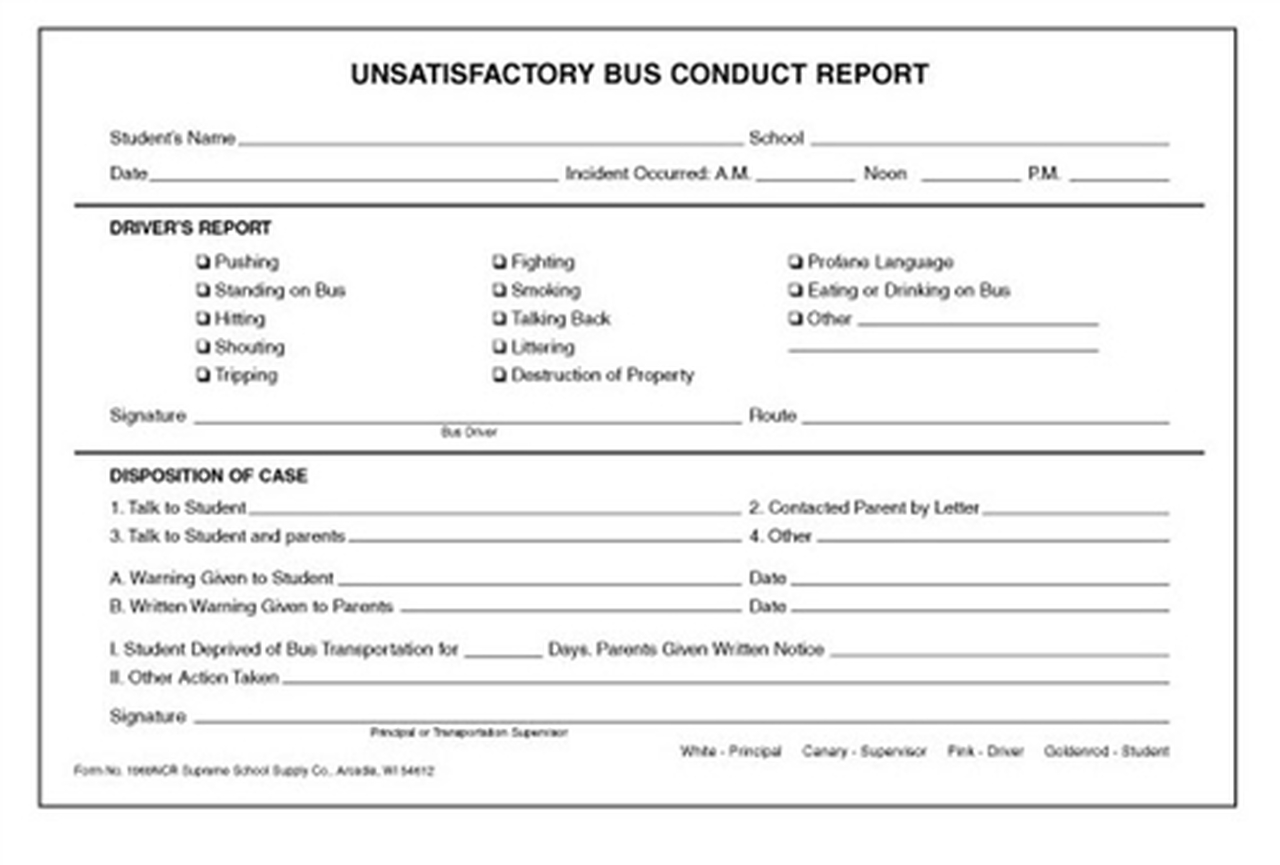 Unsatisfactory Bus Conduct Report (1969NCR)
