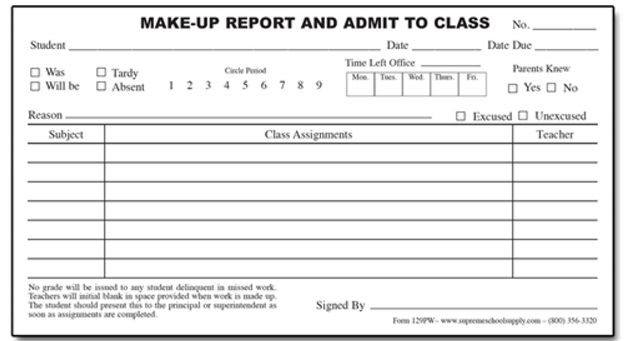 Make Up Reports - White (129PW)