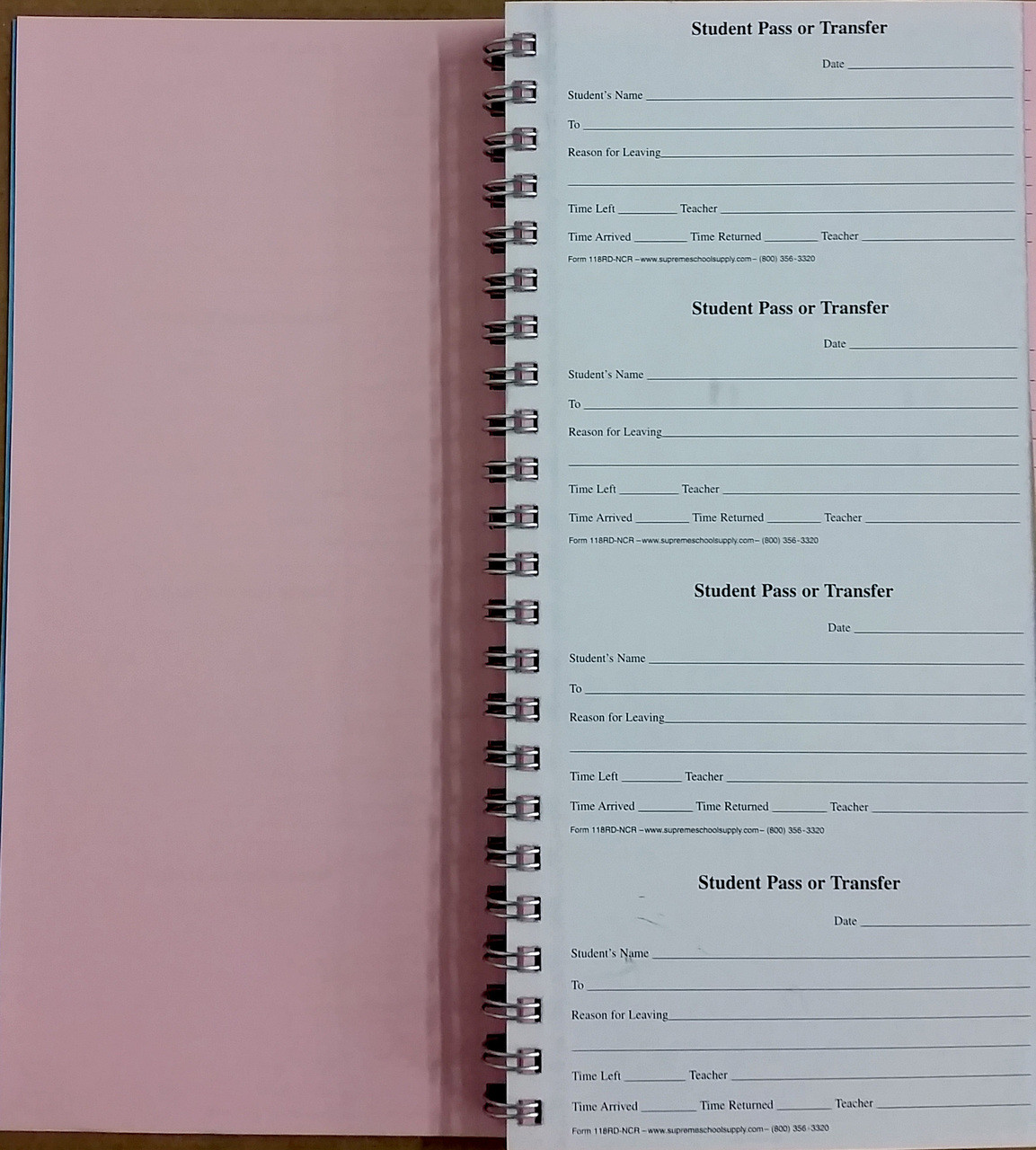 Pass or Transfer Book, Carbonless (118RD-NCR)