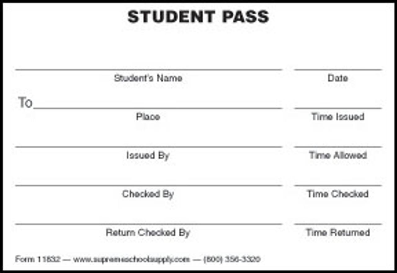 Student Pass, White (11832)