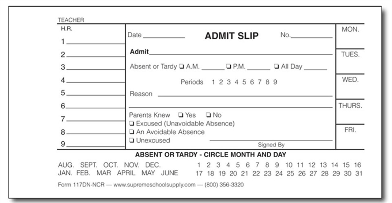Admit Slip Book w/ Dates Carbon less (117DN-NCR)