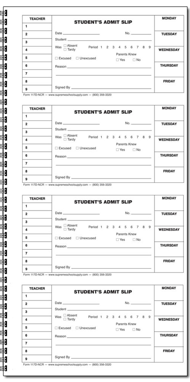 Student Admit Book - Carbonless (117D-NCR)