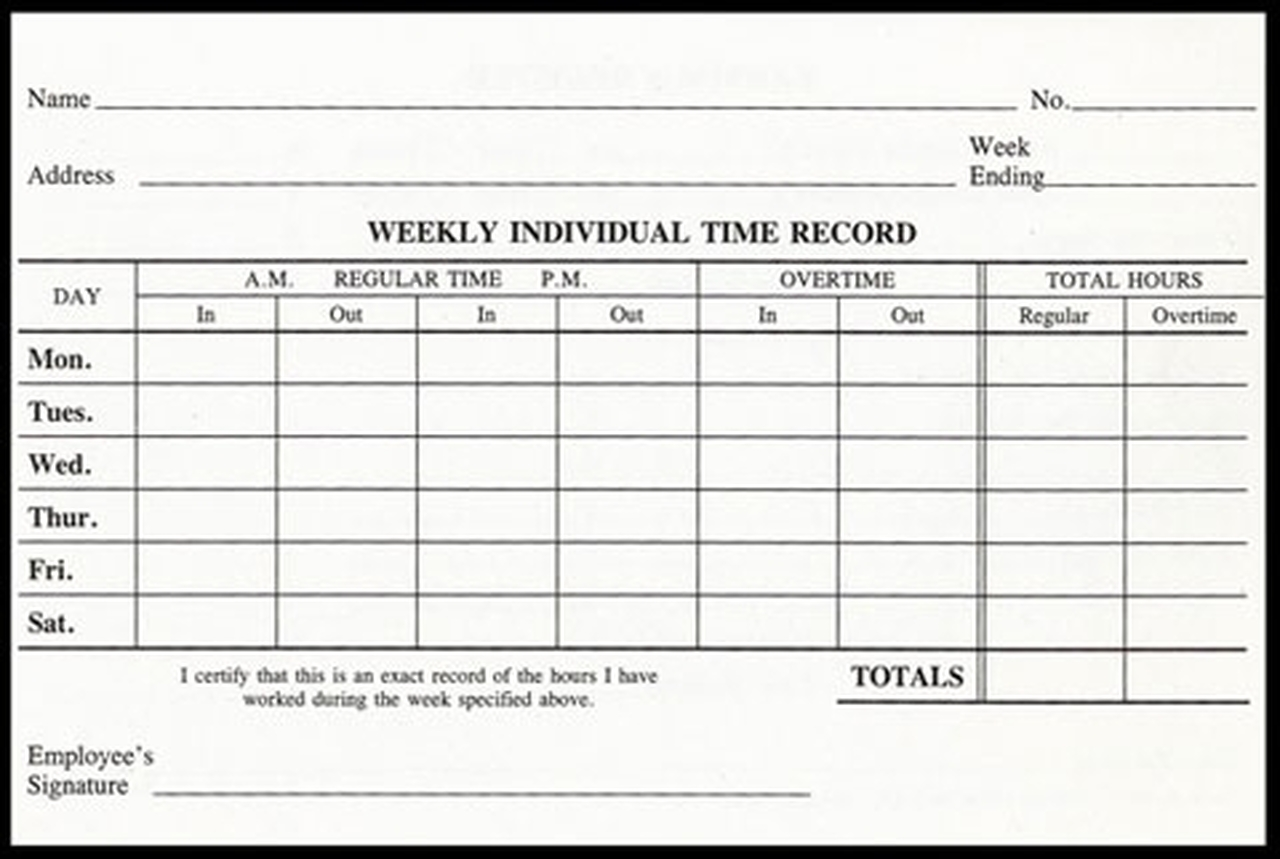 Weekly Time Cards (WTC)