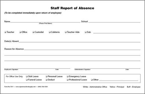 Staff Report of Absence, Triplicate (RA1)