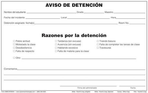 Detention Notice, 4 Part (DN89-SPANISH)