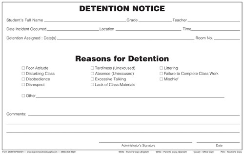 Detention Notice, 4 Part (DN89-SPANISH)