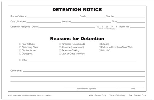 Detention Notice, Triplicate (DN89)