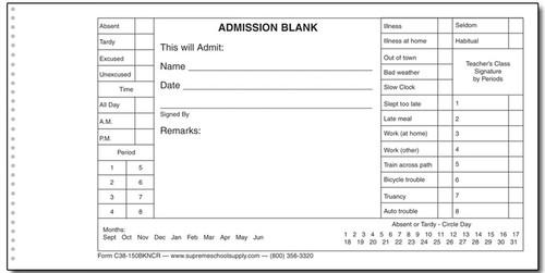 Admission Book, Carbonless (C38-150BKNCR)