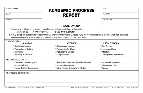 Academic Progress Report (APR3-SPANISH)
