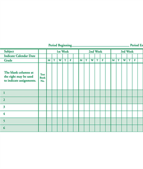 Class Record Book, 8 Subject, 9 Week (936 Series) (936-8)