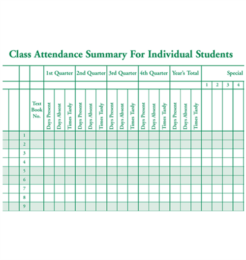 Class Record Book, 6-Subject (Green Print) (910-6LGN)