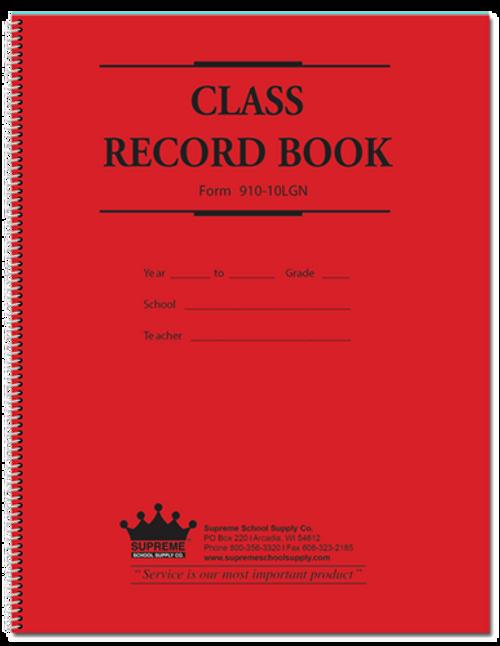 Class Record Book, 10 Subject, Green Text (910-10LGN)