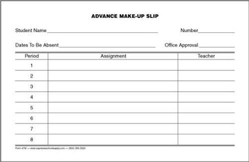Advance Make-Up Slip (47M)