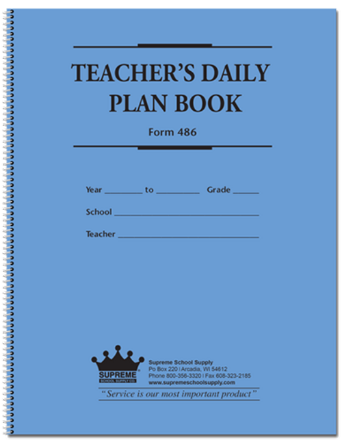 Teachers Plan Book - 6 Subject, Large (486)