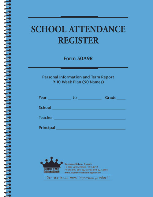 School Attendance Register, 9 Week (50A9R50)