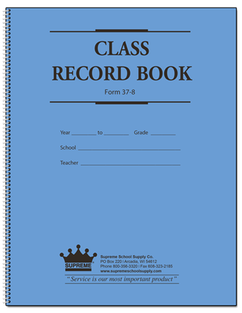 Class Record Book 8 Subject 9 Week Blue Cover (37-8)