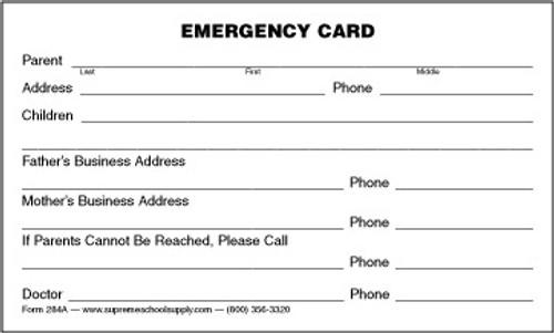 Emergency Information Card (284A)