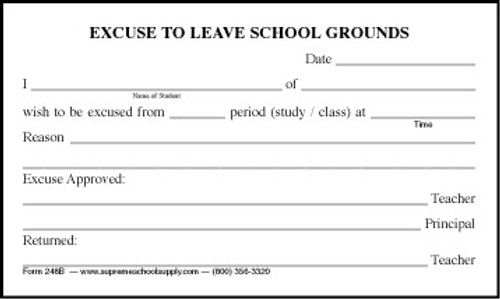 Excuse To Leave School Grounds (248B)