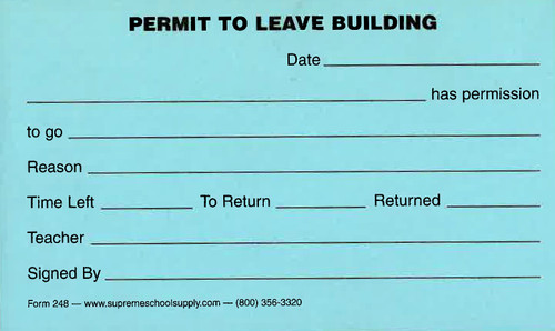 Permit To Leave Building (248)