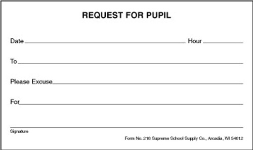 Request For Student Excuse (218)