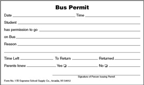 Bus Permit (17B)