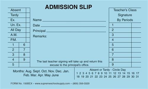 Admission Slip, Blue (150B)