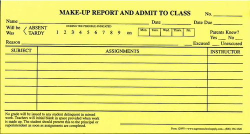 Make Up Reports Yellow (129PY)