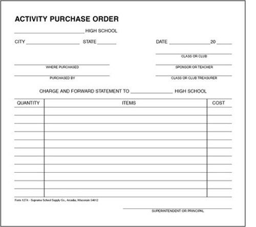 High School Activity Purchase Order (127A)