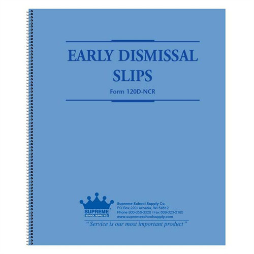 Early Dismissal Book Carbonless (120D-NCR)