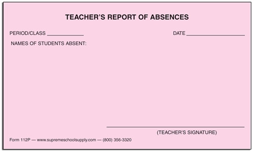 Daily Absentee Report, Pink (112P)