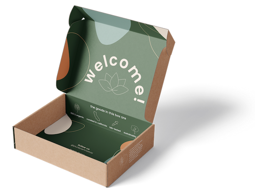 """The pure canna box - a recycled brown kraft exterior and deep green interior with the word """"welcome!"""" arched inside."""