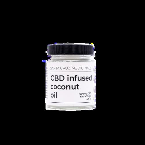 White glass jar with black lid, stating Santa Cruz Medicinals Coconut Oil