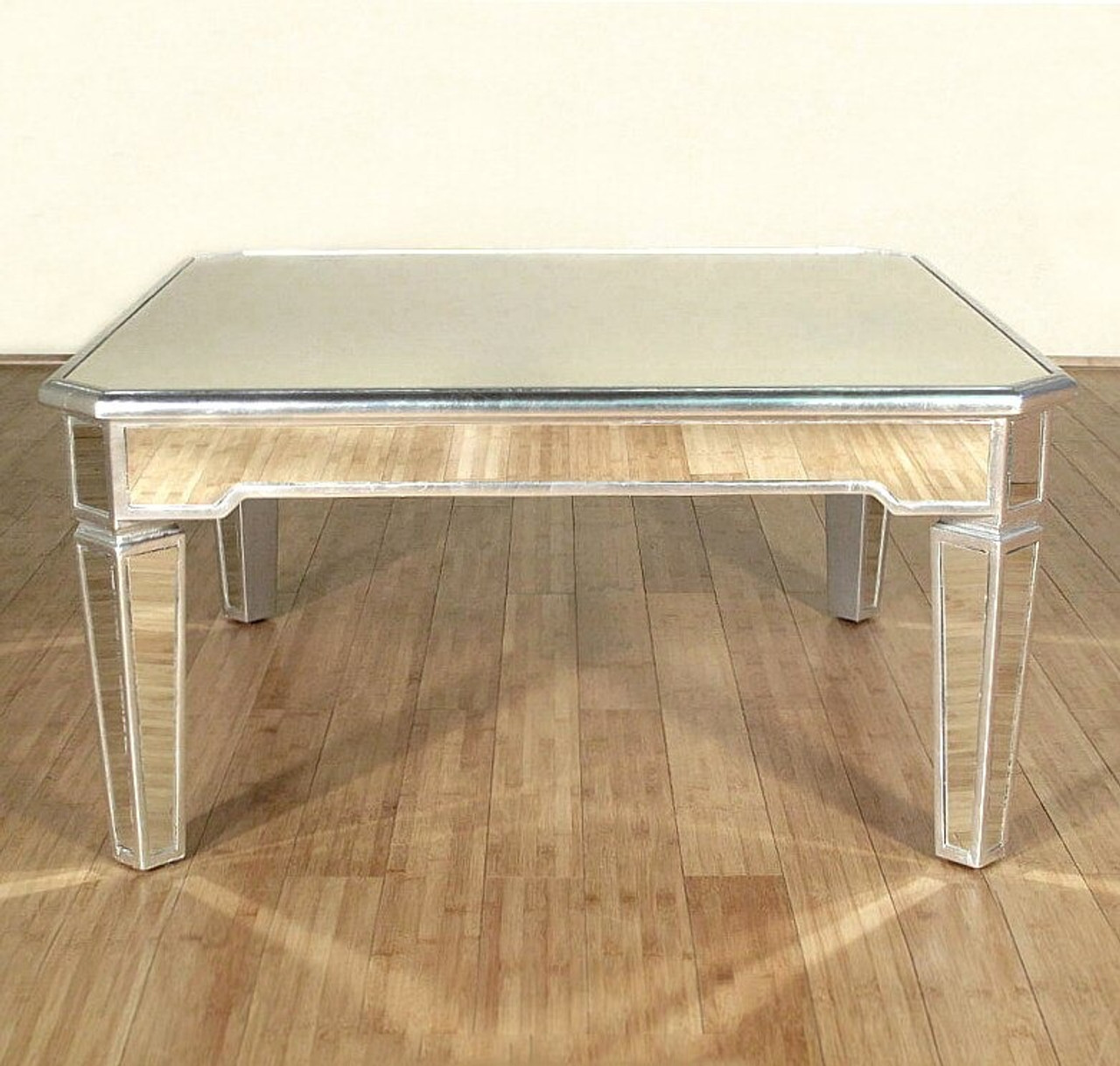 Picture of: Distressed Silver Mirrored Coffee Table