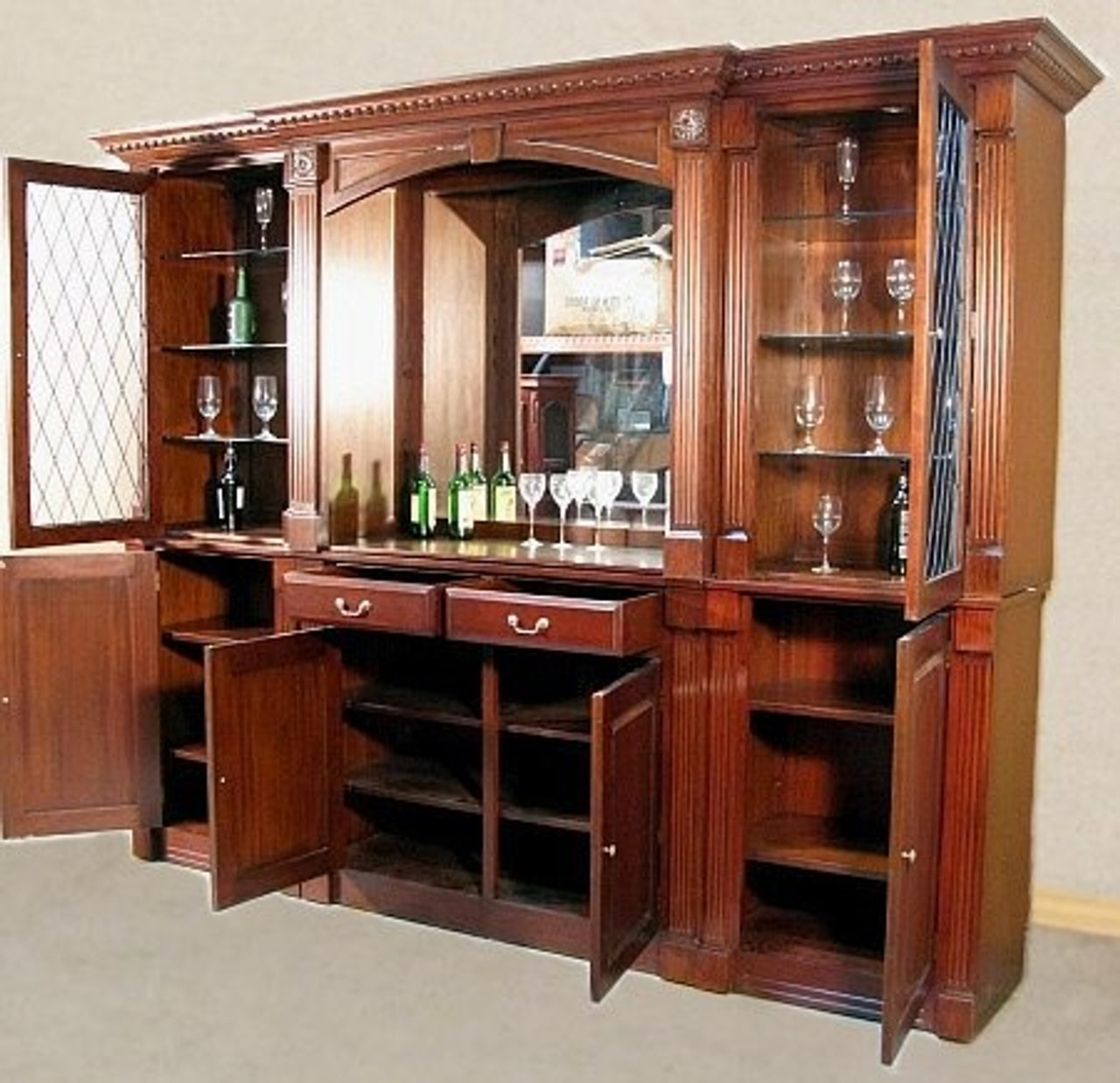 Picture of: 10ft Solid Mahogany Home Pub Back Bar W Mirror Cabinets